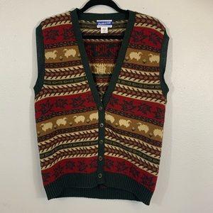 Pendleton 100% Virgin Wool Cardigan Vest Sz Medium